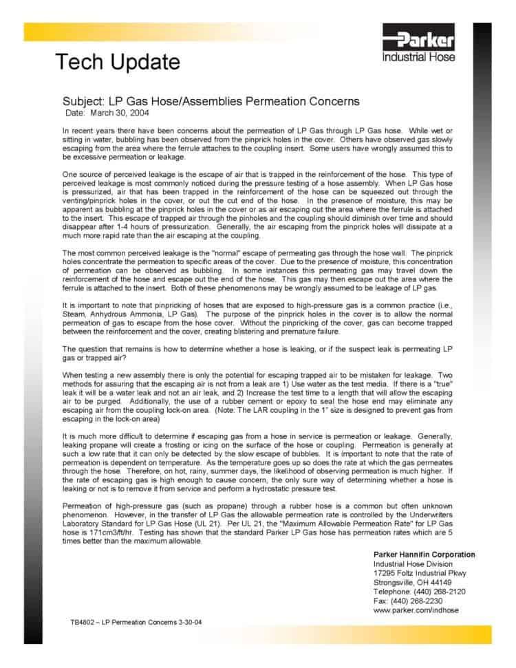 LP Gas Hose Permeation 1